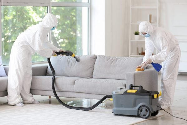 Workers,In,Biohazard,Costume,Removing,Dirt,From,Sofa,In,House